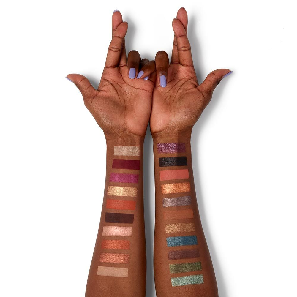 Urban Decay Born to Run palette swatches on dark skin