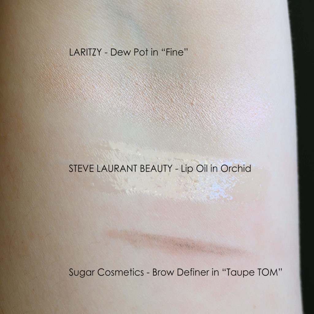 Swatches of Laritzy dew pot, Steve Laurant lip oil in Orchid, Sugar Cosmetics brow definer