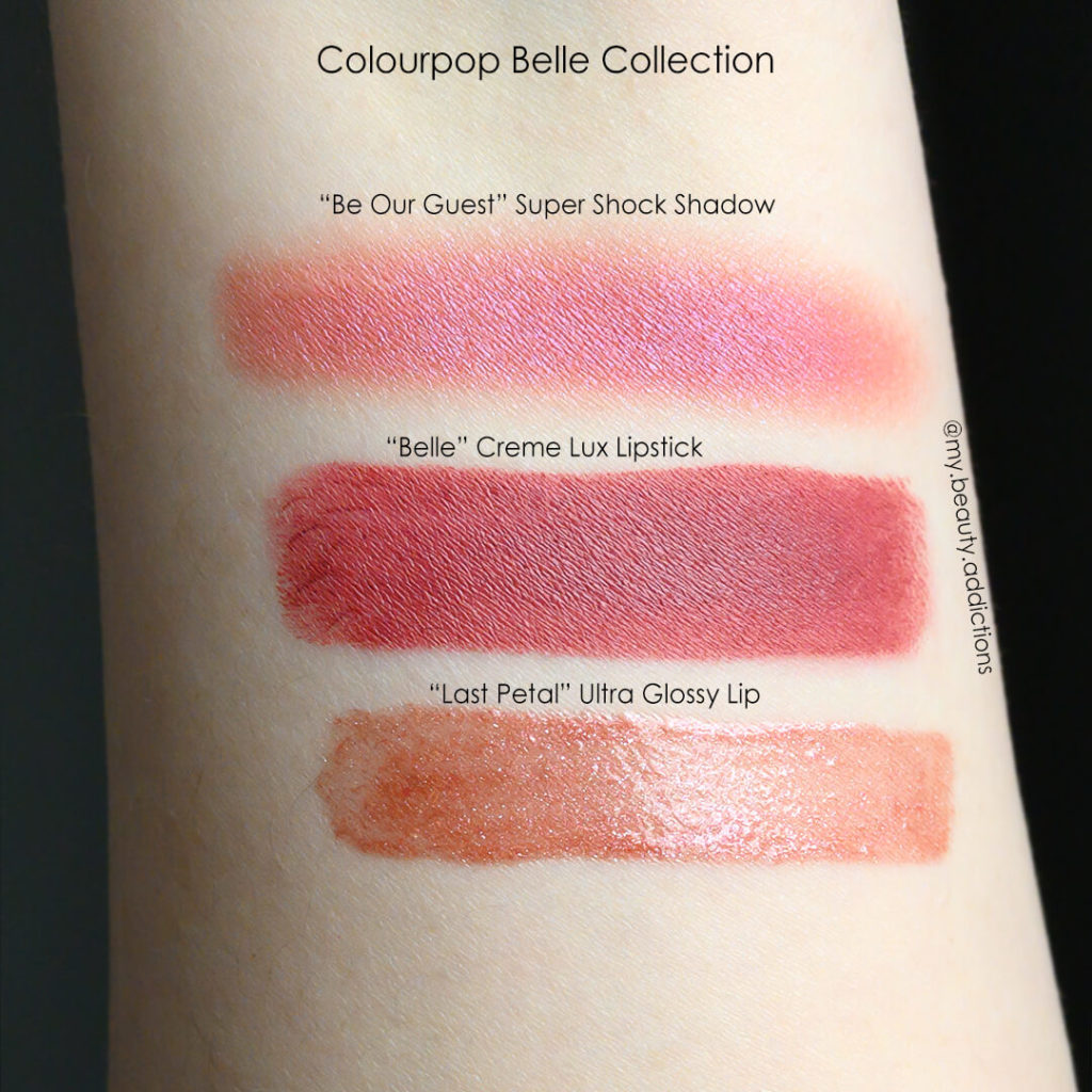 Colourpop Disney Belle swatches