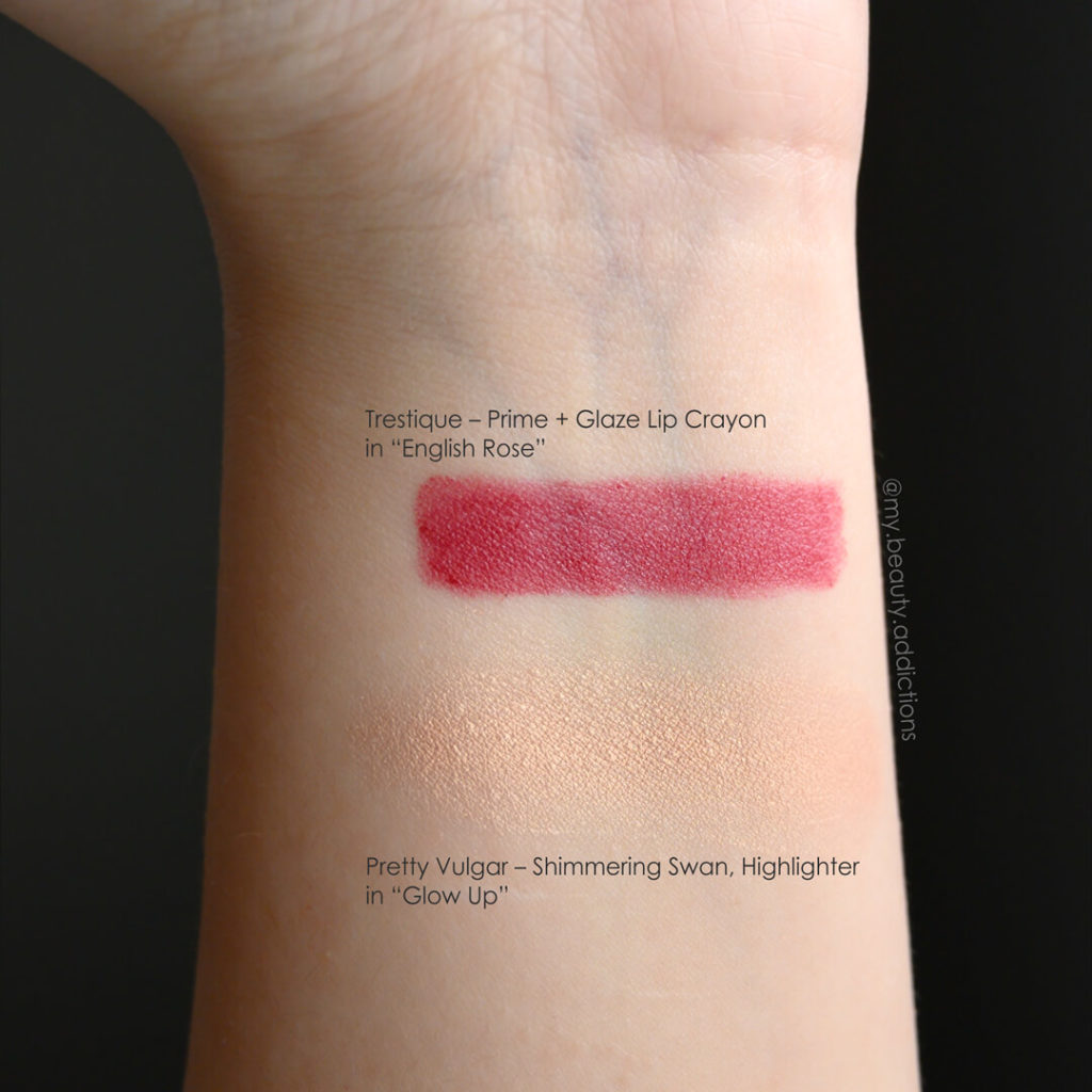 Swatches of Pretty Vulgar Highlighter and Trestique English Rose
