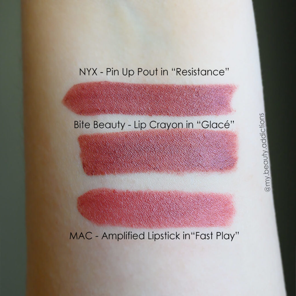 Bite Beauty lip Glace swatch, dupes MAC fastplay
